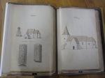 Uppslag som visar teckningar av Valtorps kyrka och Falköpings kyrka