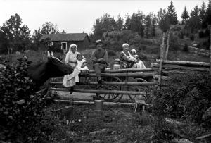 Vuxna och barn vid en gärsgård med ko i förgrunden. 1920-tal. Svartvitt foto.
