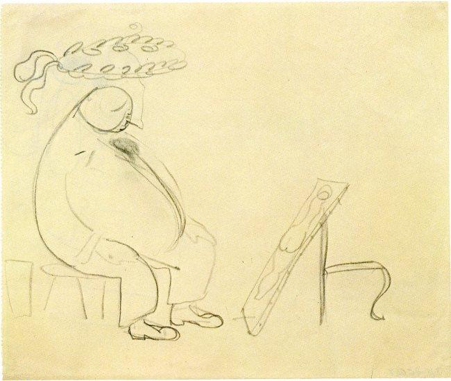 Skiss av Jophn Bauer föreställande Anders Zorn
