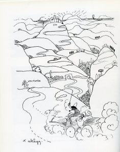 Teckning av landskap med kullar, med självporträtt av John Bauer
