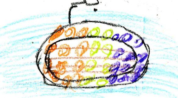Barnteckning som föreställer en fullsatt båt på flykt över medelhavet